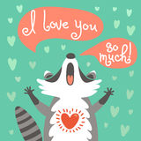 Cute raccoon confesses his love Stock Photo