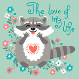 Cute raccoon confesses his love Stock Image
