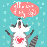 Cute raccoon confesses his love Royalty Free Stock Image