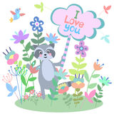 Cute raccoon with floral background and plate with empty space for text. Royalty Free Stock Photography