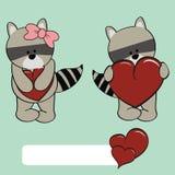 Cute raccoon girl and boy cartoon Stock Photo