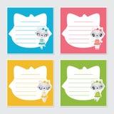 Cute raccoon girl frame  cartoon illustration for kid memo paper design Stock Photo