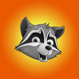 Cute raccoon icon sticker. Head raccoon. Vector illustration. Stock Images