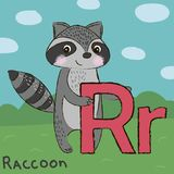 Cute raccoon with letter R. Letter R, R, raccoon, cool stock illustration