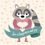Cute raccoon in love stock illustration