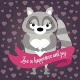 Cute raccoon in love vector illustration