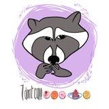 Cute raccoon vector illustration