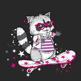 Cute raccoon on a skateboard. Vector illustration. Raccoon playing sports. Extreme sports. Figure for a card or poster. Print on c. Cute raccoon on a skateboard Royalty Free Stock Photo