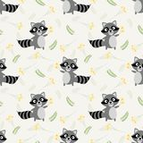 Cute raccoon and tiny flower seamless pattern. Lovely animal concept royalty free illustration