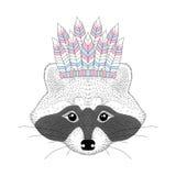 Cute raccoon with war bonnet on head. Hand drawn animal face, fa Royalty Free Stock Photos