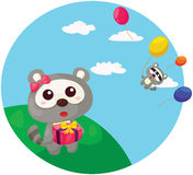 Cute raccoon withcolorful balloons Royalty Free Stock Photography