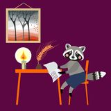 Cute raccoon - writer. Book illustration. Stock Photo