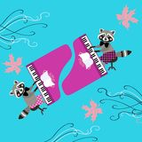 Cute raccoons - musicians. Beautiful card with cartoon animal characters Stock Images