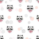 Cute raccoons seamless pattern. Stock Images