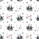 Cute Raccoons, vector seamless pattern vector illustration