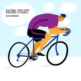 Cute racing cyclist. Racing cyclist in action. Editable vector illustration Royalty Free Stock Images