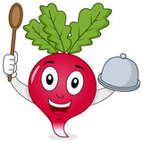 Cute Radish Character with Tray & Spoon stock photo