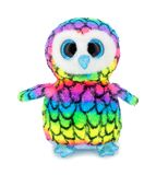 Cute rainbow colored owl plushie doll isolated on white background with shadow reflection. Plush stuffed puppet bird toy.