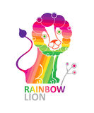 Cute rainbow lion. Royalty Free Stock Images