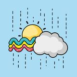 Cute rainbow with sun and cloud design. Vector illustration Royalty Free Stock Image