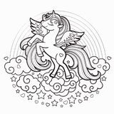 Cute Cartoon Vector Unicorn With Rainbow Coloring Page ...