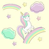 Cute rainbow unicorn with a bow is on the rainbow. stock illustration