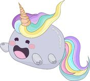 Cute rainbow unicorn cat creature icon vector with outlines. Cute rainbow unicorn cat creature. Vector illustration for avatar, icon with black outlines Royalty Free Stock Photos