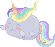 Cute rainbow unicorn cat creature icon vector with outlines. Cute rainbow unicorn cat creature. Vector illustration for avatar, icon with blue outlines Stock Photography