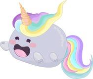 Cute rainbow unicorn cat creature icon vector. Cute rainbow unicorn cat creature. Vector illustration for avatar, icon Royalty Free Stock Photos