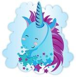 Cute rainbow Unicorn. Vector illustration. Isolated on white background. Cute cartoon flying unicorn. Be unicorn colorful hand drawn vector Illustration vector illustration