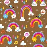 Cute rainbows pattern Royalty Free Stock Photo