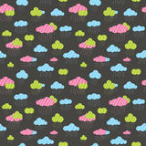 Cute rainy clouds seamless pattern. Royalty Free Stock Photography