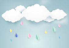 Cute rainy fall and clouds background. Paper art style Stock Image