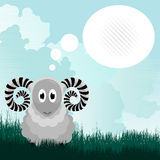 Cute ram and speech bubble Stock Photography
