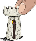 Cute Rapunzel in Chess Piece. Hispanic Rapunzel character at window in rook piece Stock Image