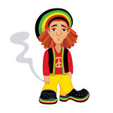 Cute rasta with joint Royalty Free Stock Photo