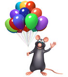 Cute  Rat cartoon character with baloon. 3d rendered illustration of Rat cartoon character with baloon Royalty Free Stock Image