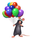 cute  Rat cartoon character with baloon Royalty Free Stock Images