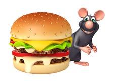 cute Rat cartoon character with burger Royalty Free Stock Image