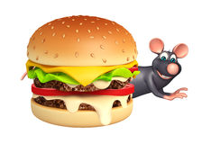 Cute Rat cartoon character with burger Royalty Free Stock Images