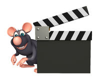 cute  Rat cartoon character with clapboard Stock Images