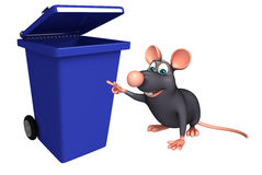 cute Rat cartoon character with dustbin Stock Images