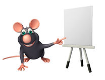 Cute Rat cartoon character with easel board. 3d rendered illustration of Rat cartoon character with easel board Royalty Free Stock Image