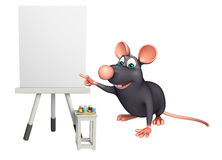 Cute Rat cartoon character with easel board. 3d rendered illustration of Rat cartoon character with easel board Stock Photo