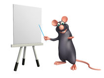 Cute Rat cartoon character with easel board. 3d rendered illustration of Rat cartoon character with easel board Stock Images