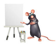 Cute Rat cartoon character with easel board. 3d rendered illustration of Rat cartoon character with easel board Stock Photography