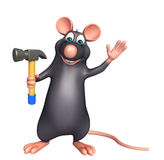 cute Rat cartoon character with hammer Stock Images