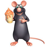 cute Rat cartoon character  with ice-cream Stock Image