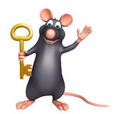 cute Rat cartoon character with key Stock Image
