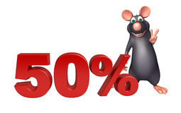 Cute Rat cartoon character with 50% sign. 3d rendered illustration of Rat cartoon character with 50% sign Stock Photo